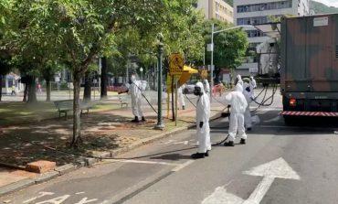 Ação de desinfecção da Praça Pedro Sanches envolve 41 militares