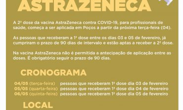 Aplicação da 2ª dose da Astrazeneca continua nesta quarta (05)