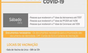 COVID-19 | APLICAÇÃO DA 2ª DOSE ACONTECE NESTE SÁBADO, ATÉ ÀS 12H