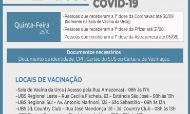 2ª Dose COVID-19  | Aplicação do imunizante segue nesta quinta-feira